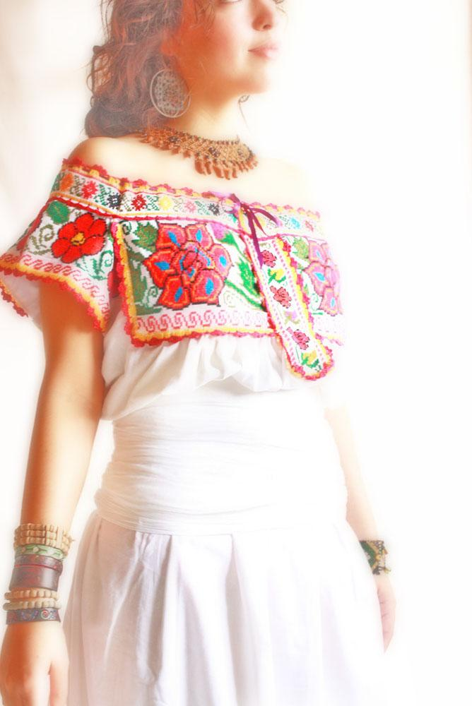 Colroful Roses Juquila Linen Ethnic Mexican romantic Maxi dress