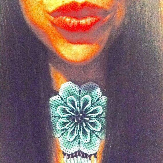 Mexican Necklace Huichol Goddess beaded Choker