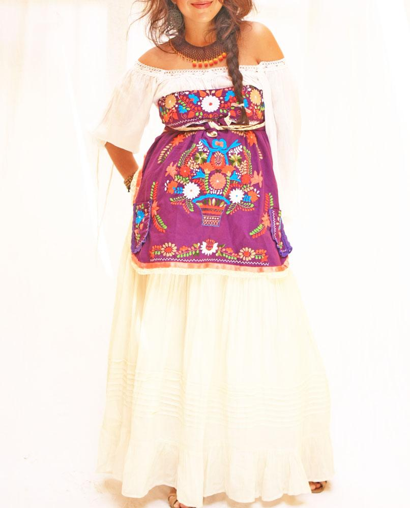 Hand Embroidered Mexican Apron