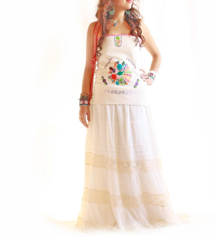 Peacock Mexican lace embroidered boho hippie skirt