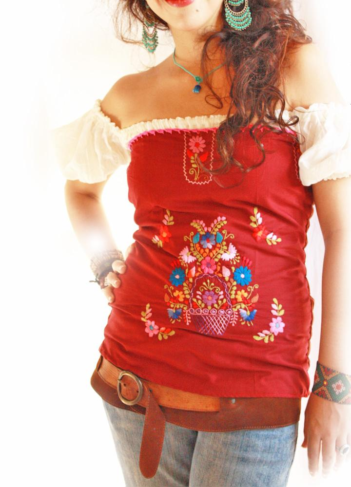 Mexican embroidered ruffled tube top