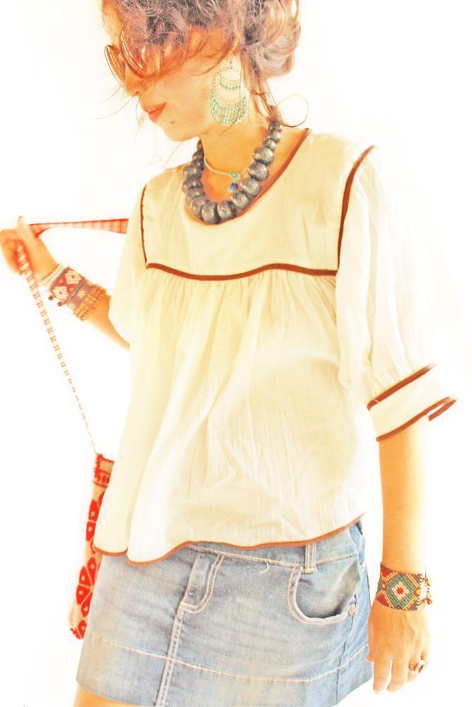 Crema y cafe Mexican cotton gauze blouse
