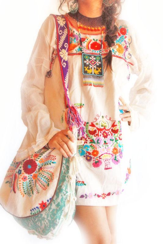 Woodstock Mexican hippie embroidered dress long bell sleeves