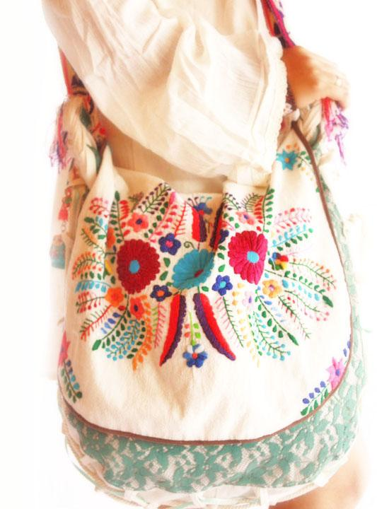 Mexican Bag Boho Chic Embroidered Tote Messenger