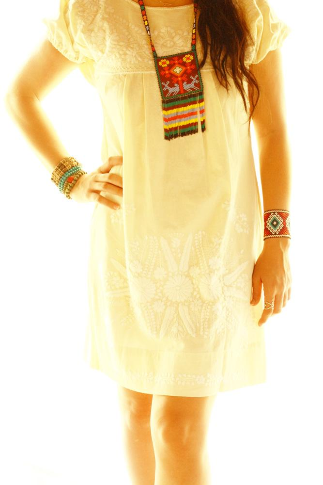 White Mexican Embroidered Dress