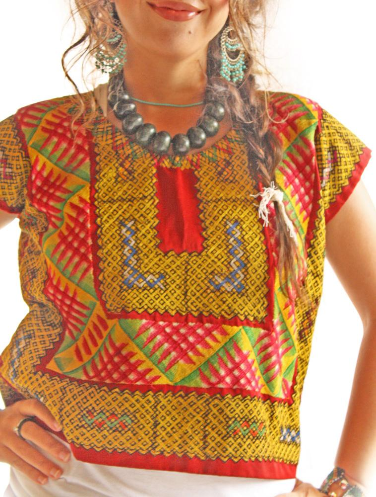 Frida Tehuana Huipil Mexican embroidered blouse