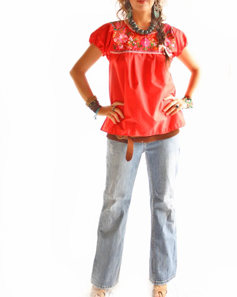 Red Boho Mexican embroidered blouse