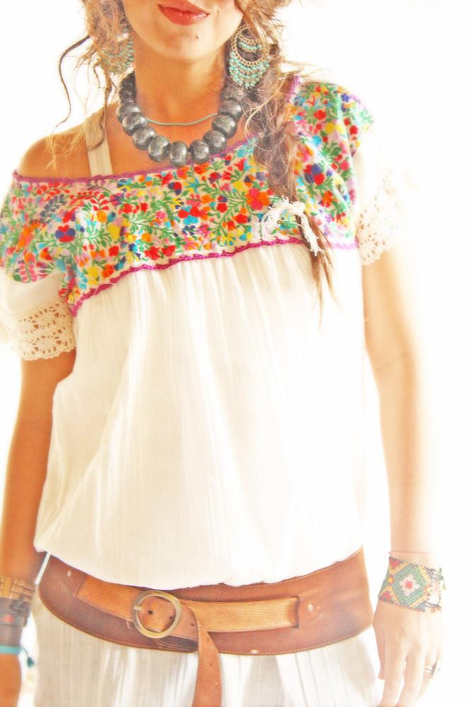 Mariana cap sleeve embroidered Mexican blouse