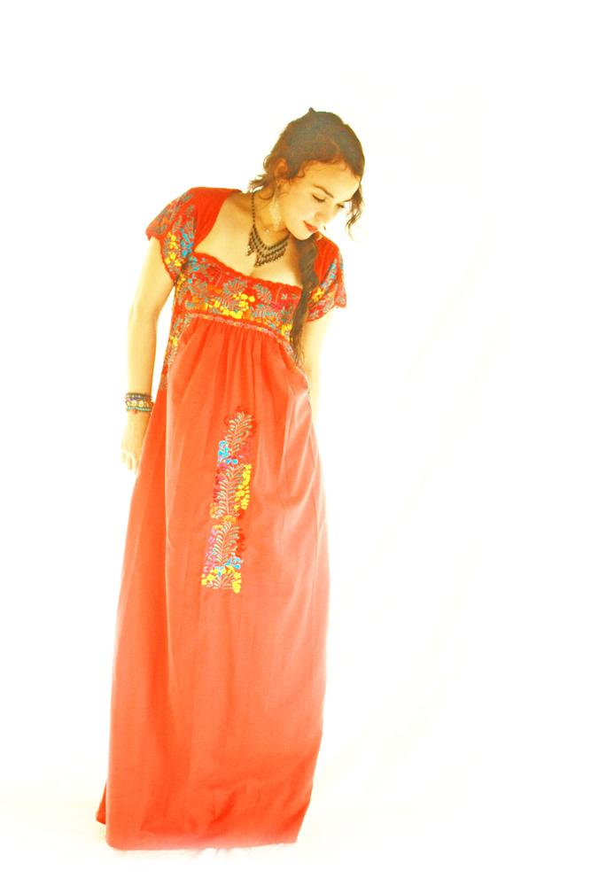 Candelaria San Antonino Mexican Dress Embroidered