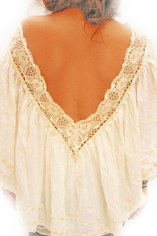 Valeria Mexican deep V vintage lace crochet angel blouse