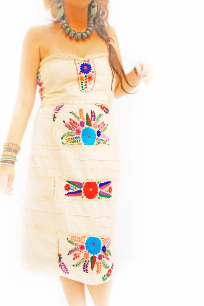 Mexican Pieces heart corset strapless dress