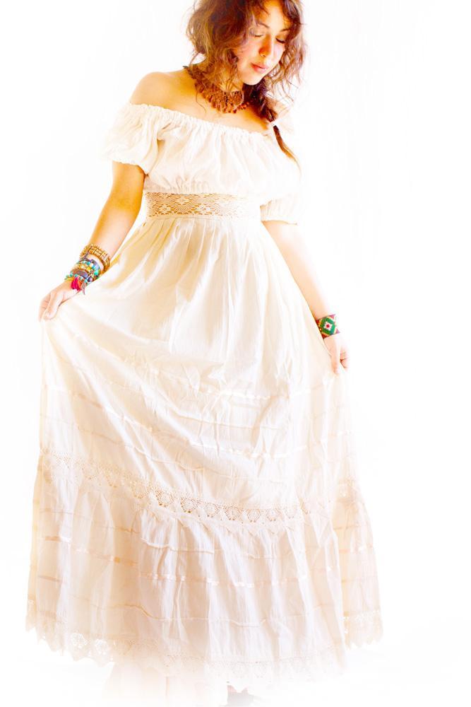 Camelia lace & vtg crochet romantic Maxi skirt