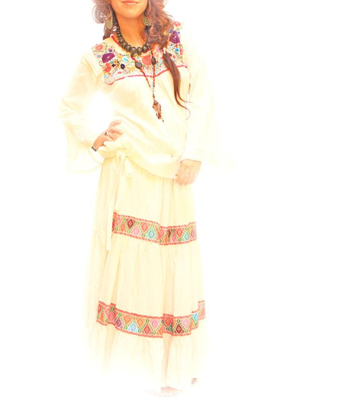Quetzalli Bohemian Mexican embroidered Maxi skirt