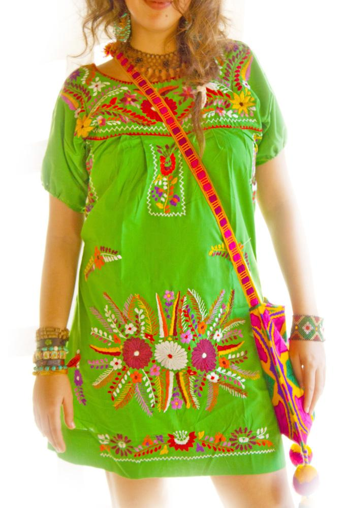 Verde Mexicano embroidered dress slim fit
