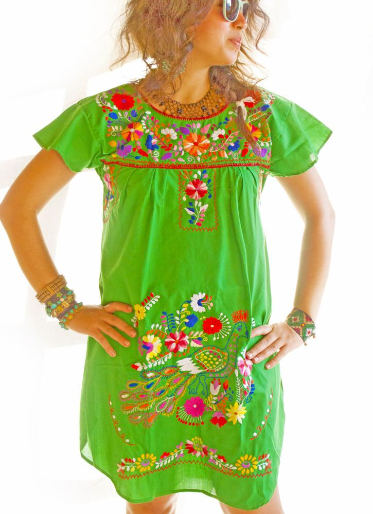 Peacock embroidered Mexican tunic cap sleeves