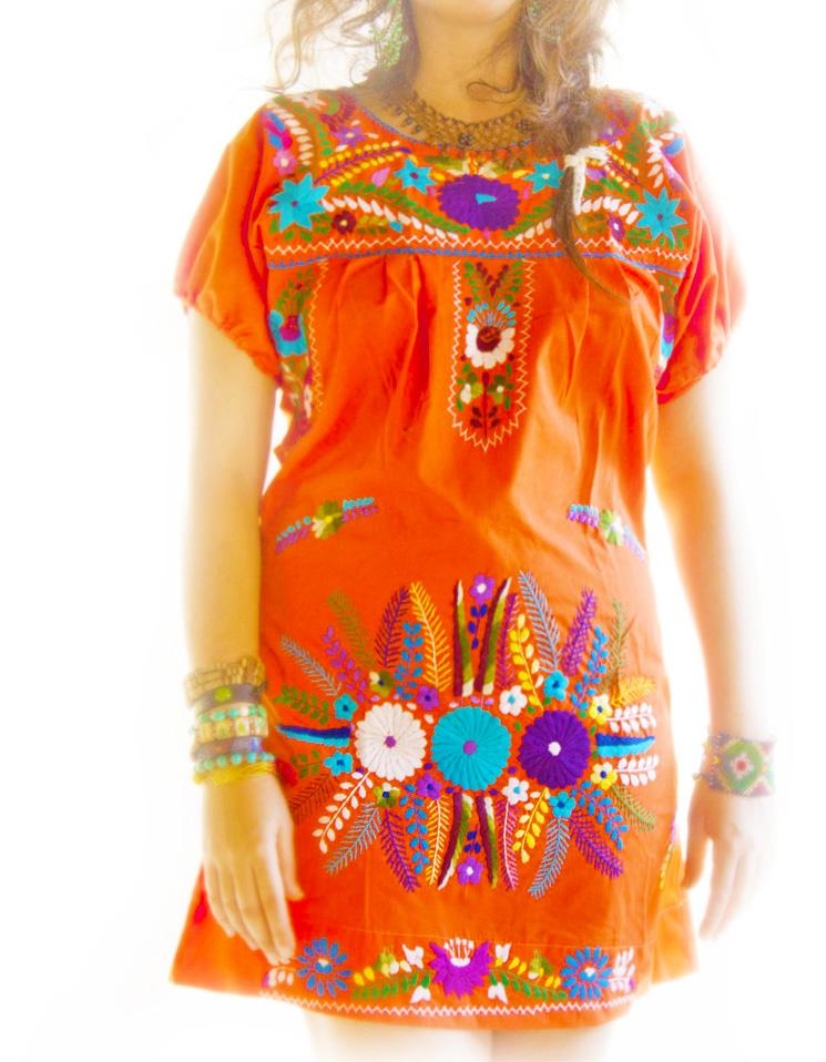 Uva & Orange Mexico embroidered mini dress