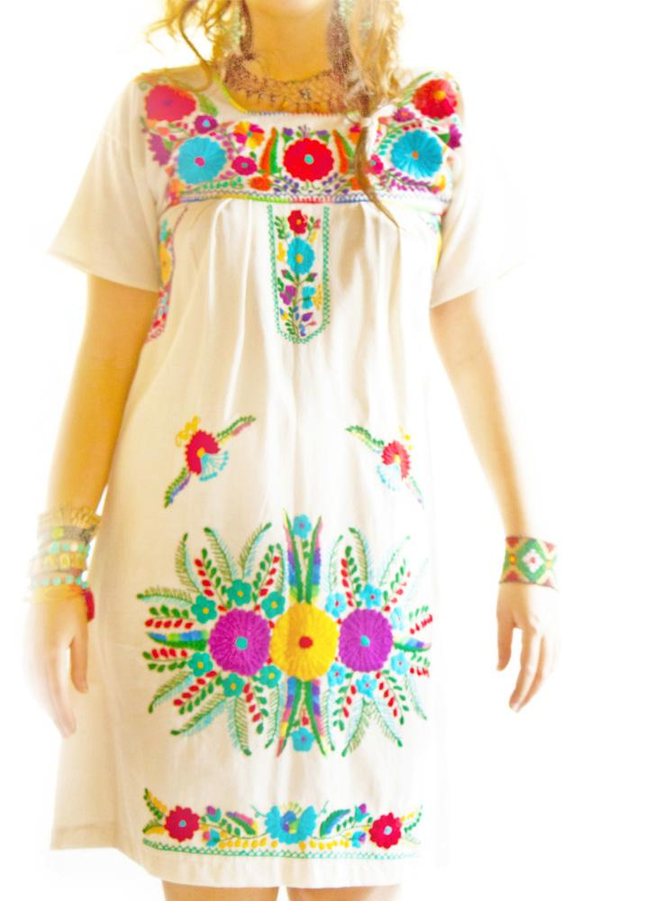 Nature ethnic embroidered folk boho dress
