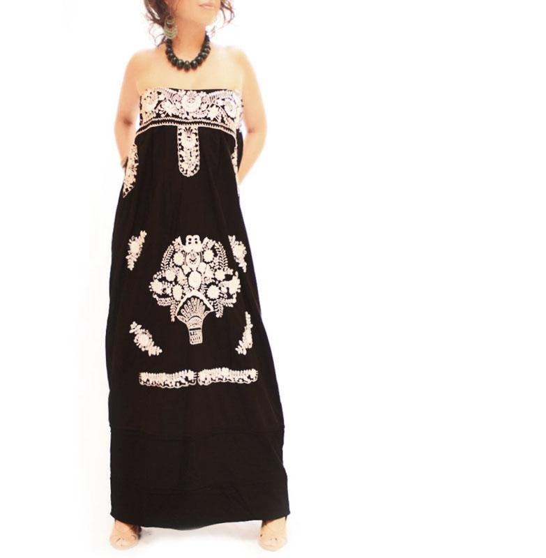 La Flaca Mexican maxi boho strapless embroidered dress