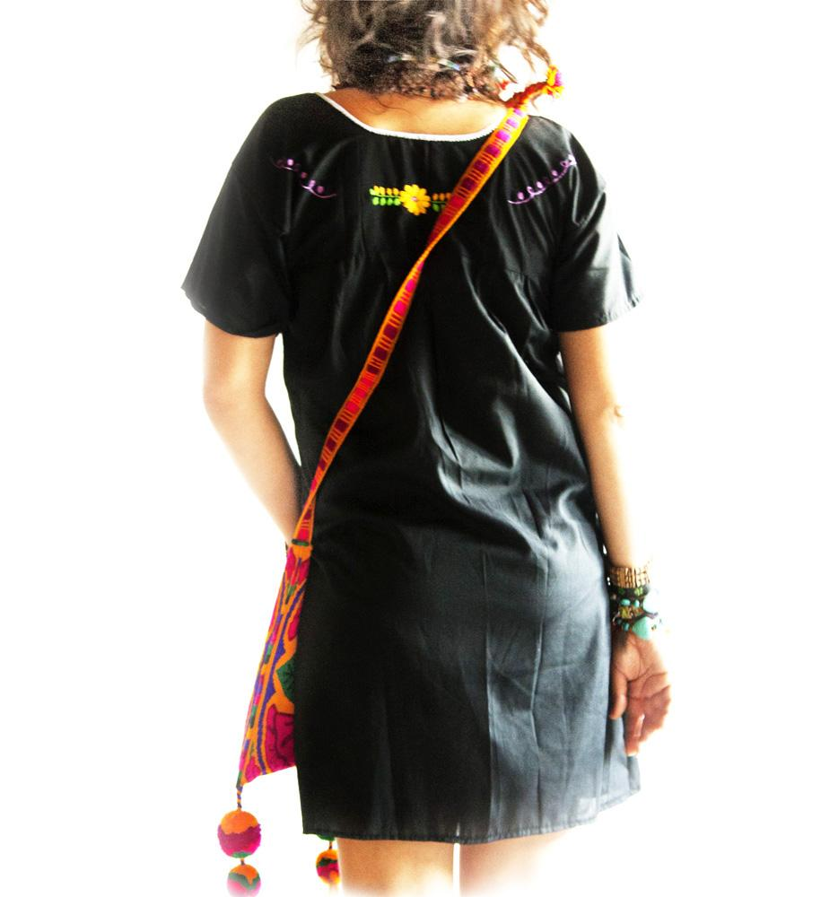 Obsidian Moon black Mexican embroidered dress slim fit - Handmade Mexican Embroidered Dresses And Vintage Treasures From Aida