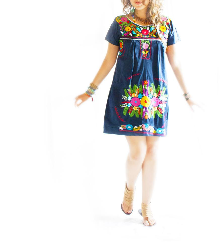 Noche Azul Mexicana ethnic chic embroidered dress