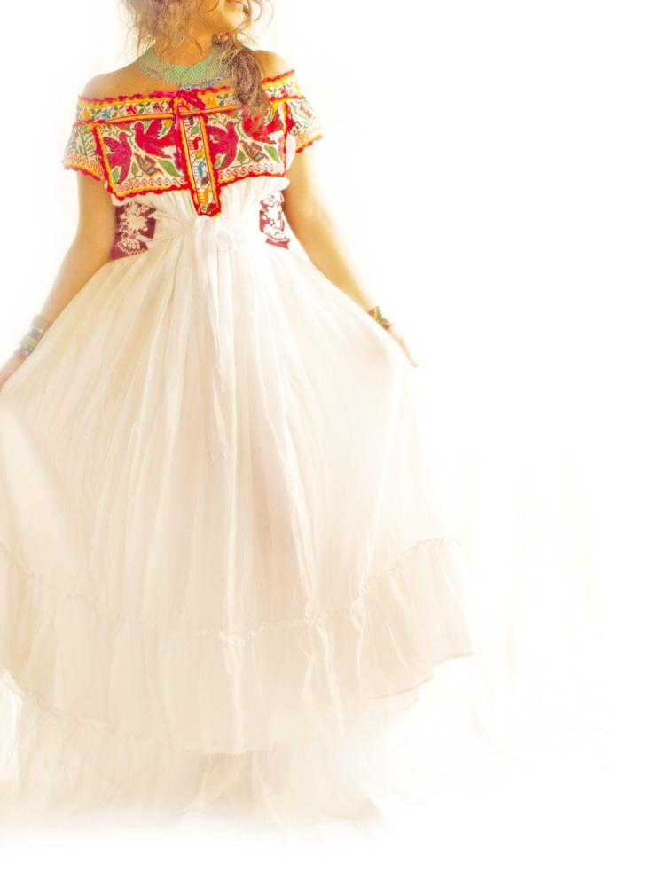 handmade mexican embroidered dresses and vintage treasures With embroidered mexican wedding dress