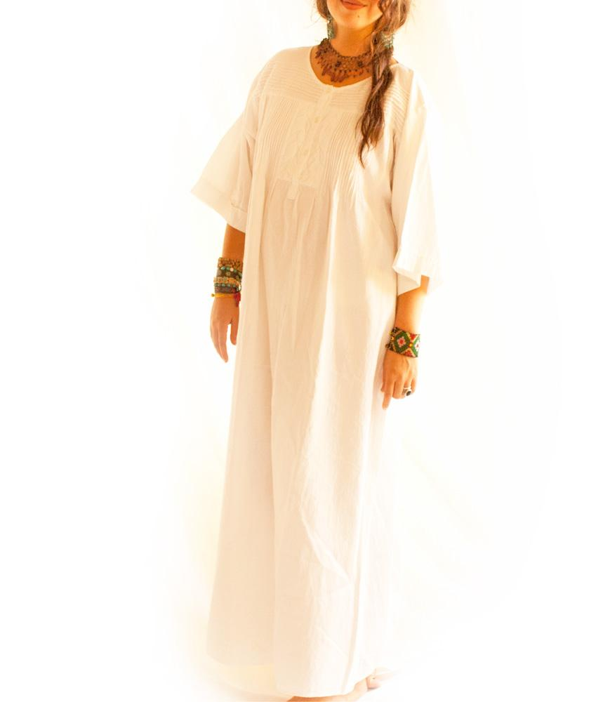 Mixtli pleated long pure white cotton dress