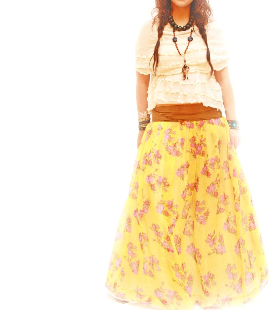 Las Rosas sheer boho ethnic yellow Tehuana skirt
