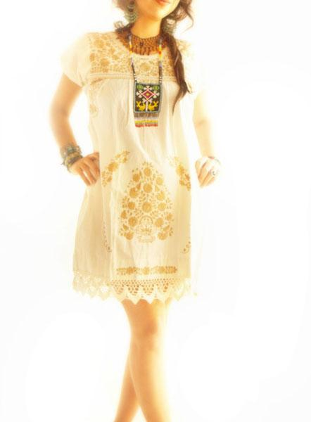 Mexican florecitas Ethnic cotton lace embroidered dress