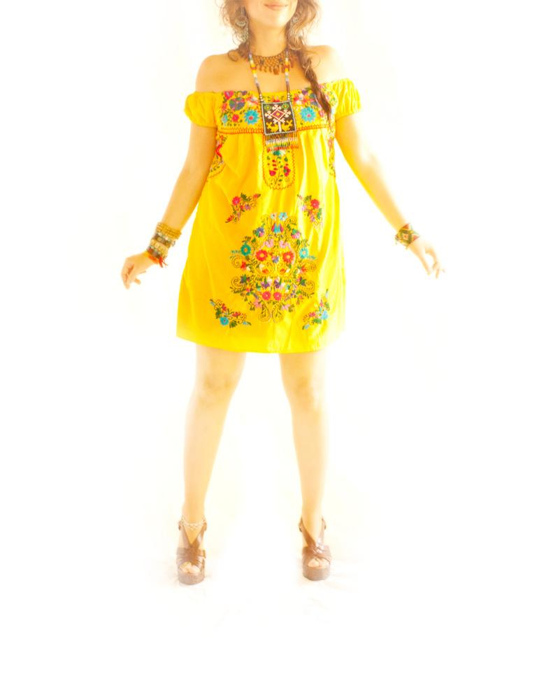 Amor Amarillo off shoulder Mexican mini dress