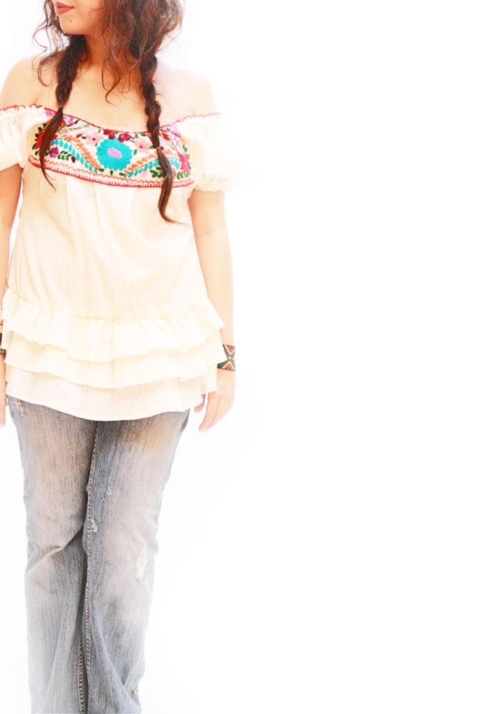 Ruffled romantic blouse mini dress