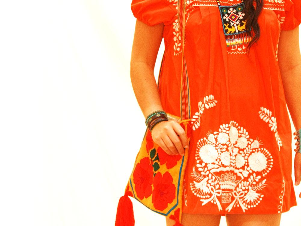 Tangerine Dreams Mexican embroidered hippie boho dress