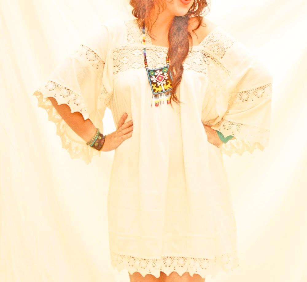 Romantic vintage Mexican boho tunic dress