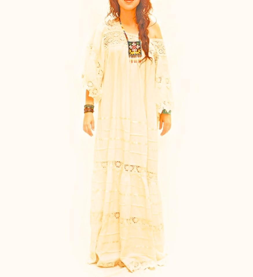 Vintage Romance Mexican long bell sleeve maxi dress crochet natural cotton