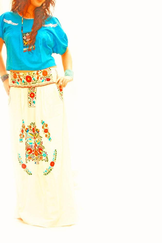 Tree of life long skirt bohemian Mexican hand embroidered
