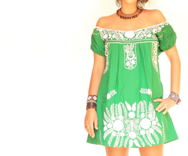 Mexican Embroidered Boho Dress