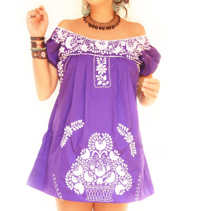 Blackberry love Mexican embroidered dress off shoulder