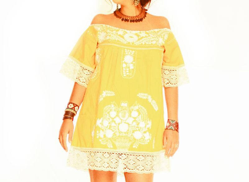 Amarillo Mexican dress crochet sleeves