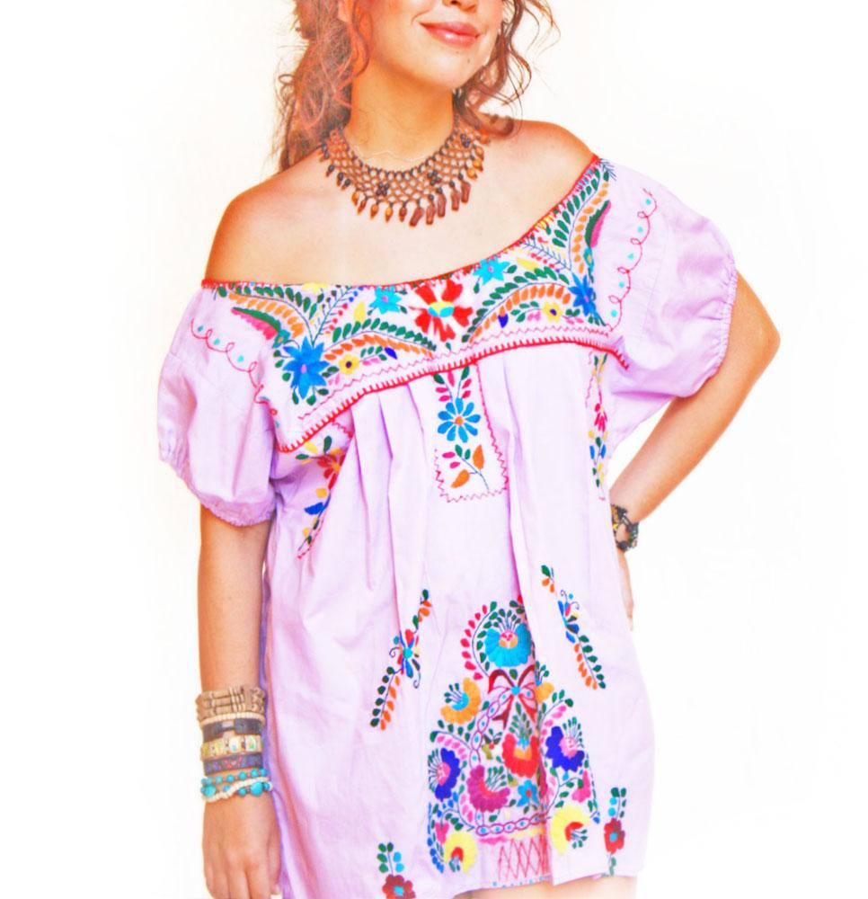 Lila Mexican vintage hand embroidered dress off shoulder