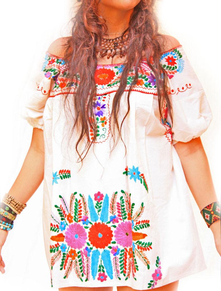 Hippie Love Mexican mini dress bohemian off shoulder