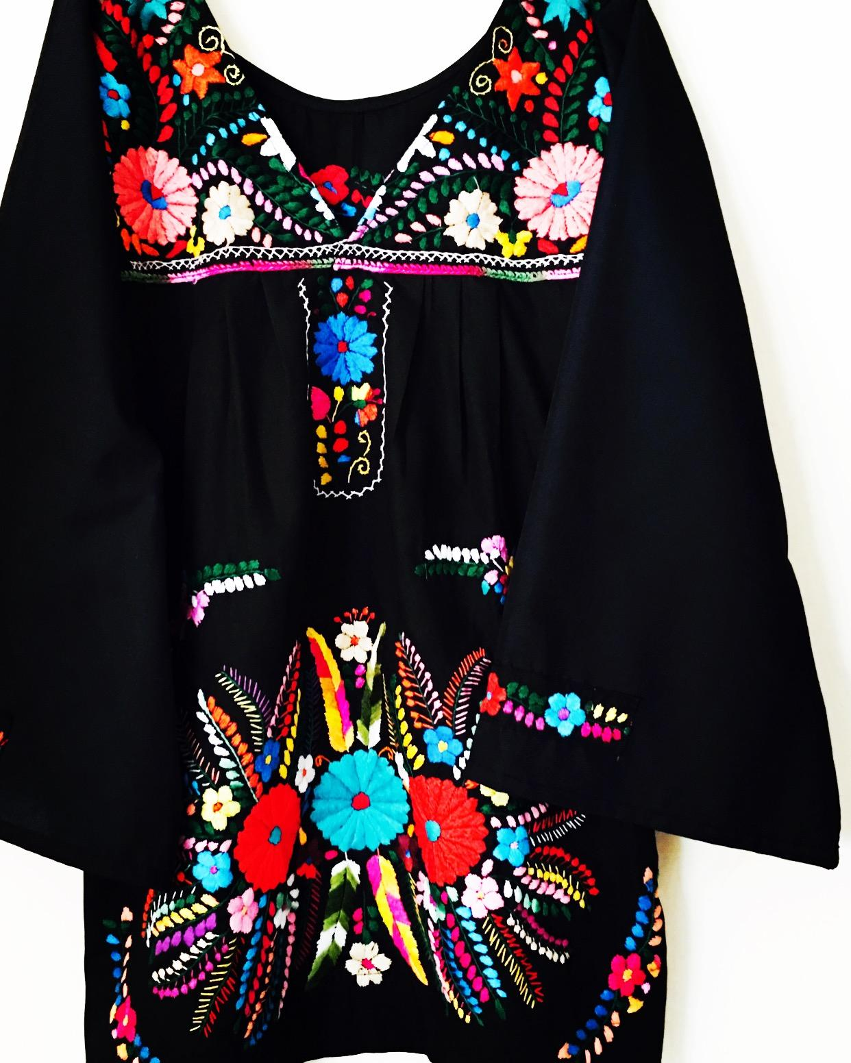 Woodstock Mexican dress Hippie Bohemian embroidered