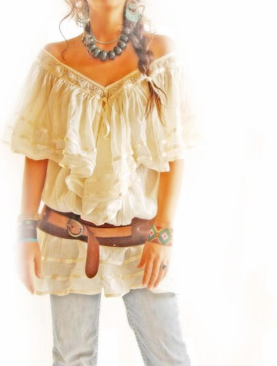 Angel Mexican Blouse Boho Crochet Top V neck