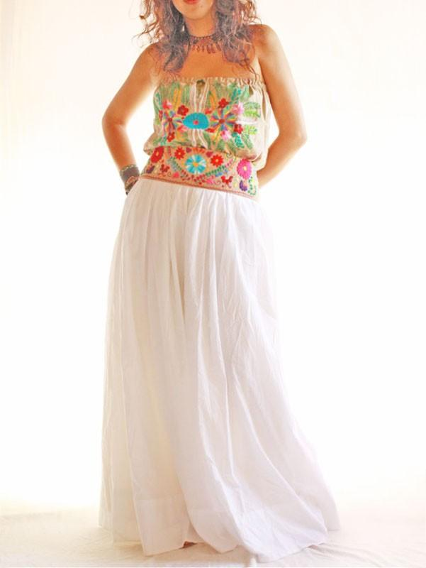 Nature Lover embroidered Goddess Mexican party wedding dress