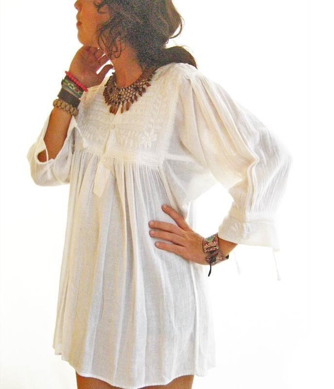 Traditional Mexican white blouse mini dress
