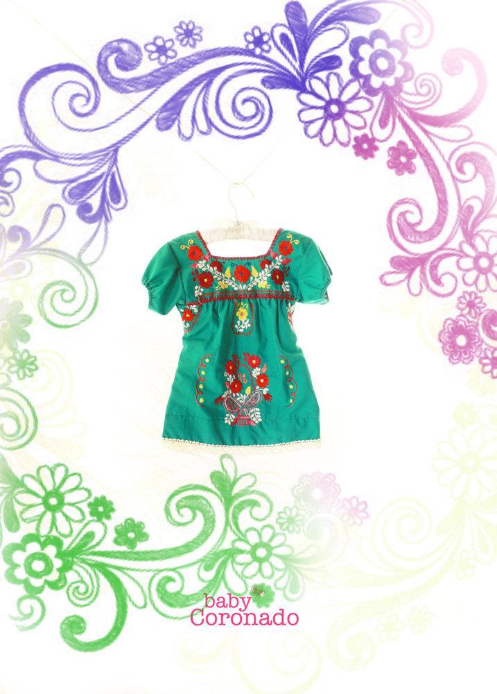 Jade Mexican embroidered dress Baby Coronado puff sleeves
