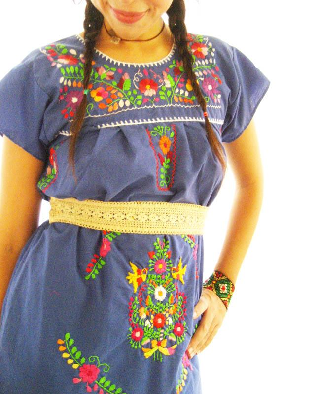 Mexican embroidered Dress Blue Gypsy