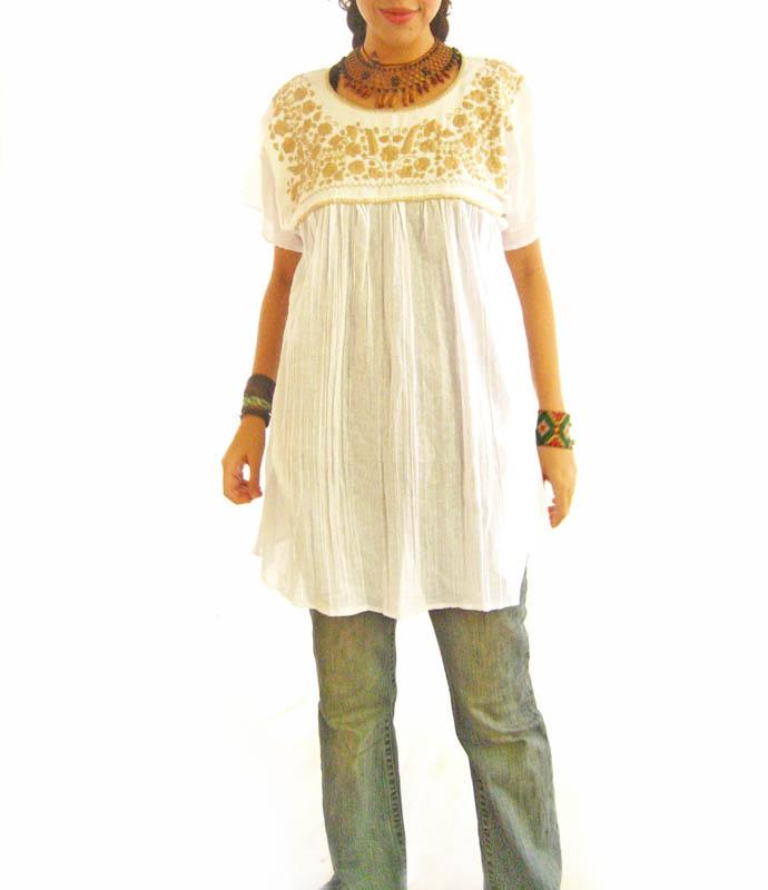 White and Gold Mexican embroidered blouson top