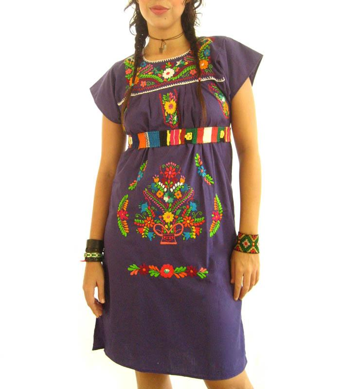 Mexican embroidered Dress Loving Purple