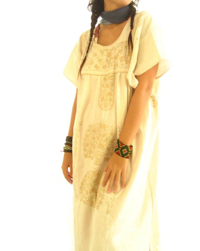 Old Gold embroidered Mexican boho tunic dress