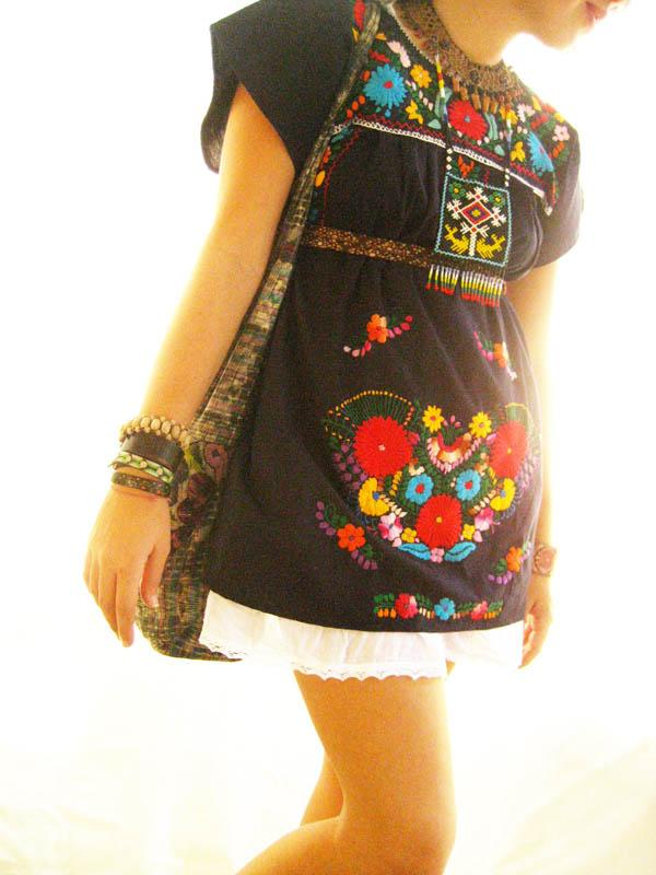Love spell dark embroidered short Mexican dress