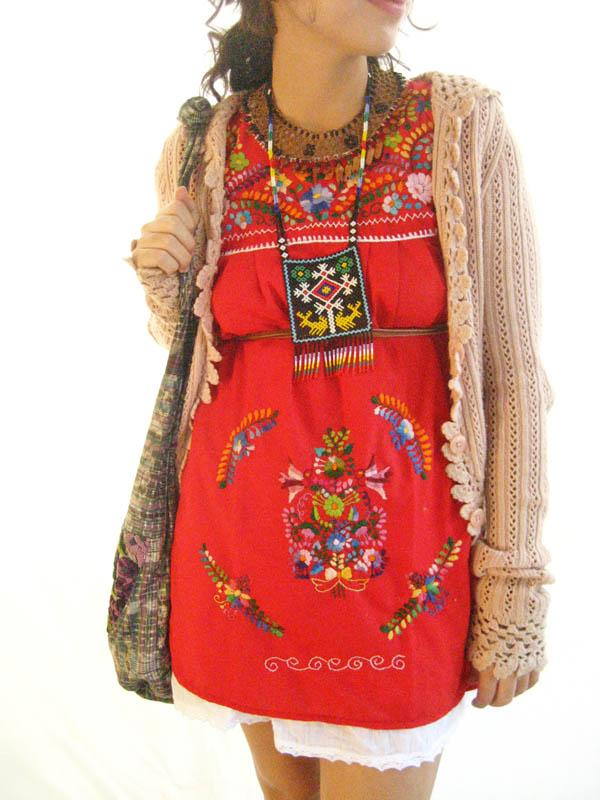 Mexico Red Short Dress Embroidered